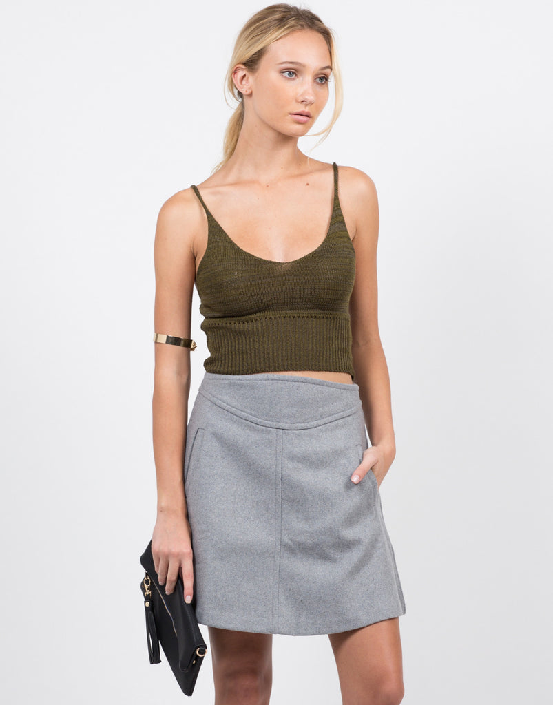 Front View of Wool A-Line Mini Skirt