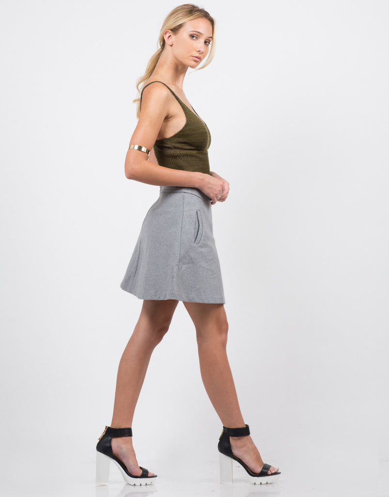 Side View of Wool A-Line Mini Skirt