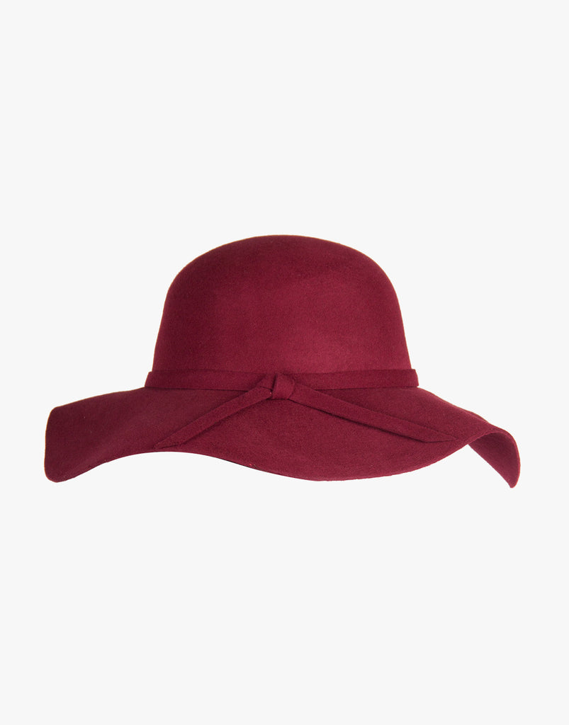 Wool Floppy Hat - Wine Accessories Wine One Size -2020AVE