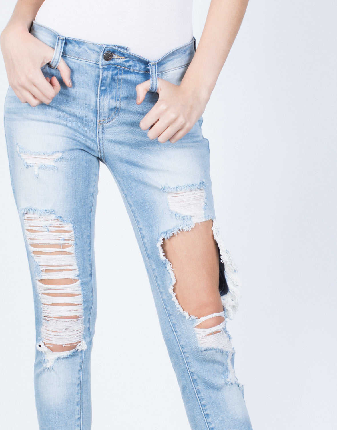 Detail of Worn and Torn Jeans