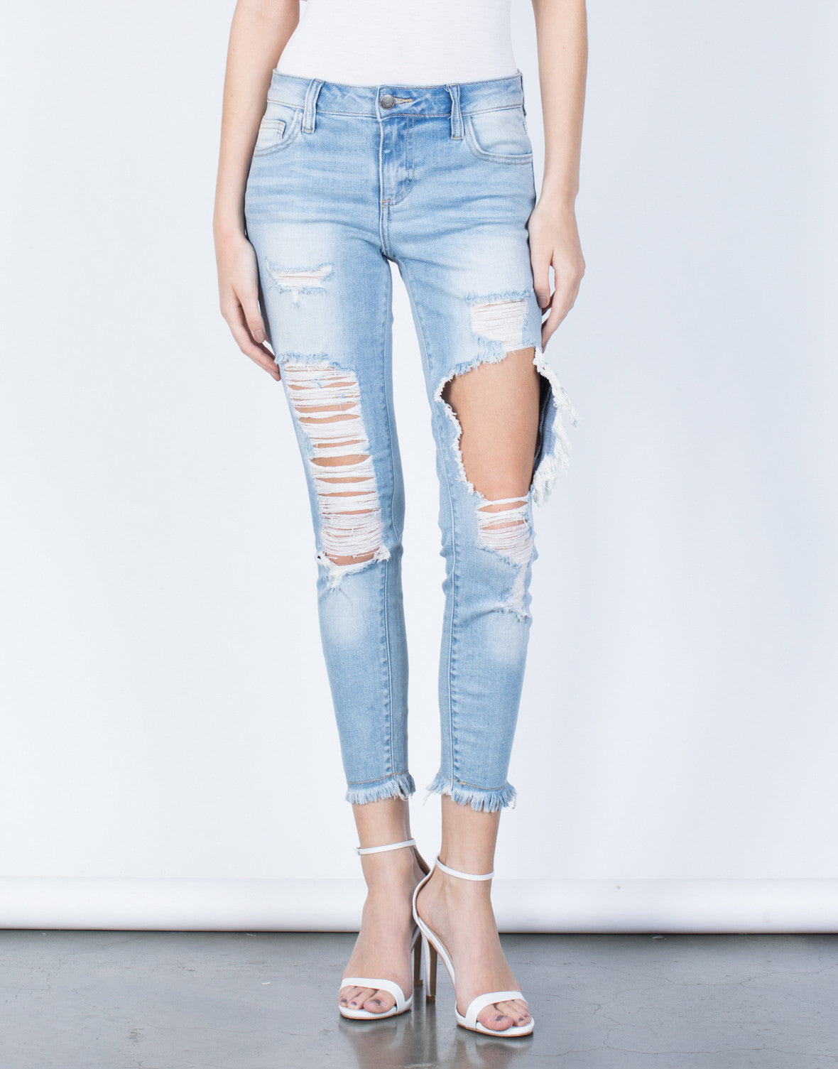 Front View of  Worn and Torn Jeans