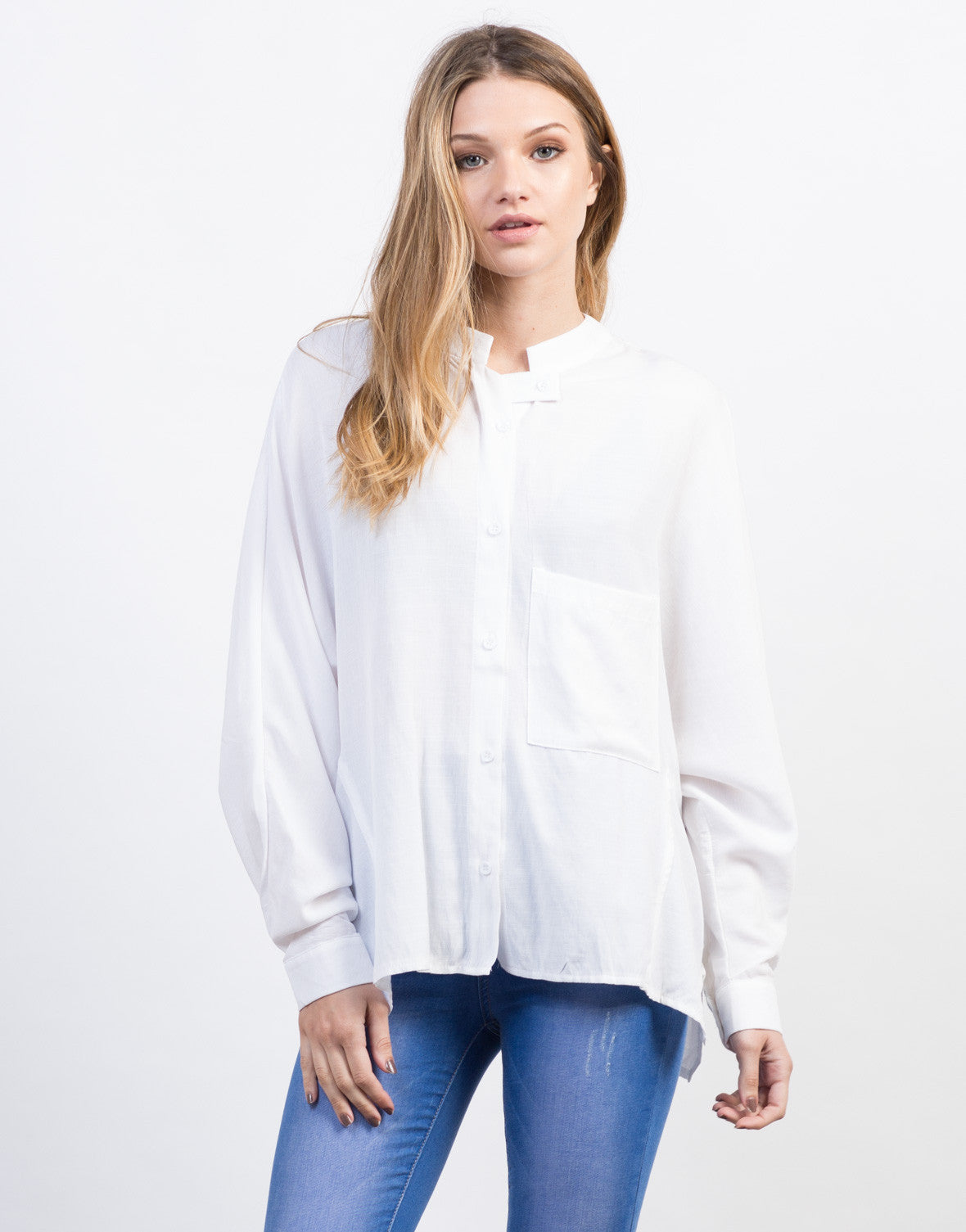 Front View of Woven Buttoned Blouse