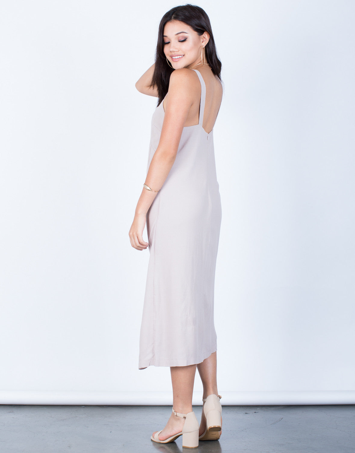 Back View of Woven Front Slit Midi Dress