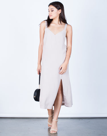 Front View of Woven Front Slit Midi Dress