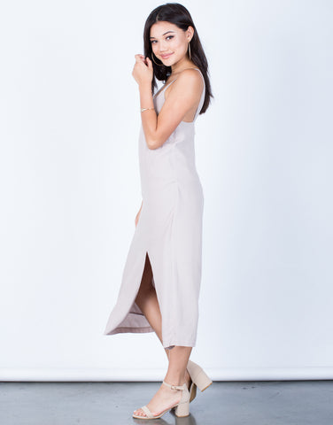 Side View of Woven Front Slit Midi Dress