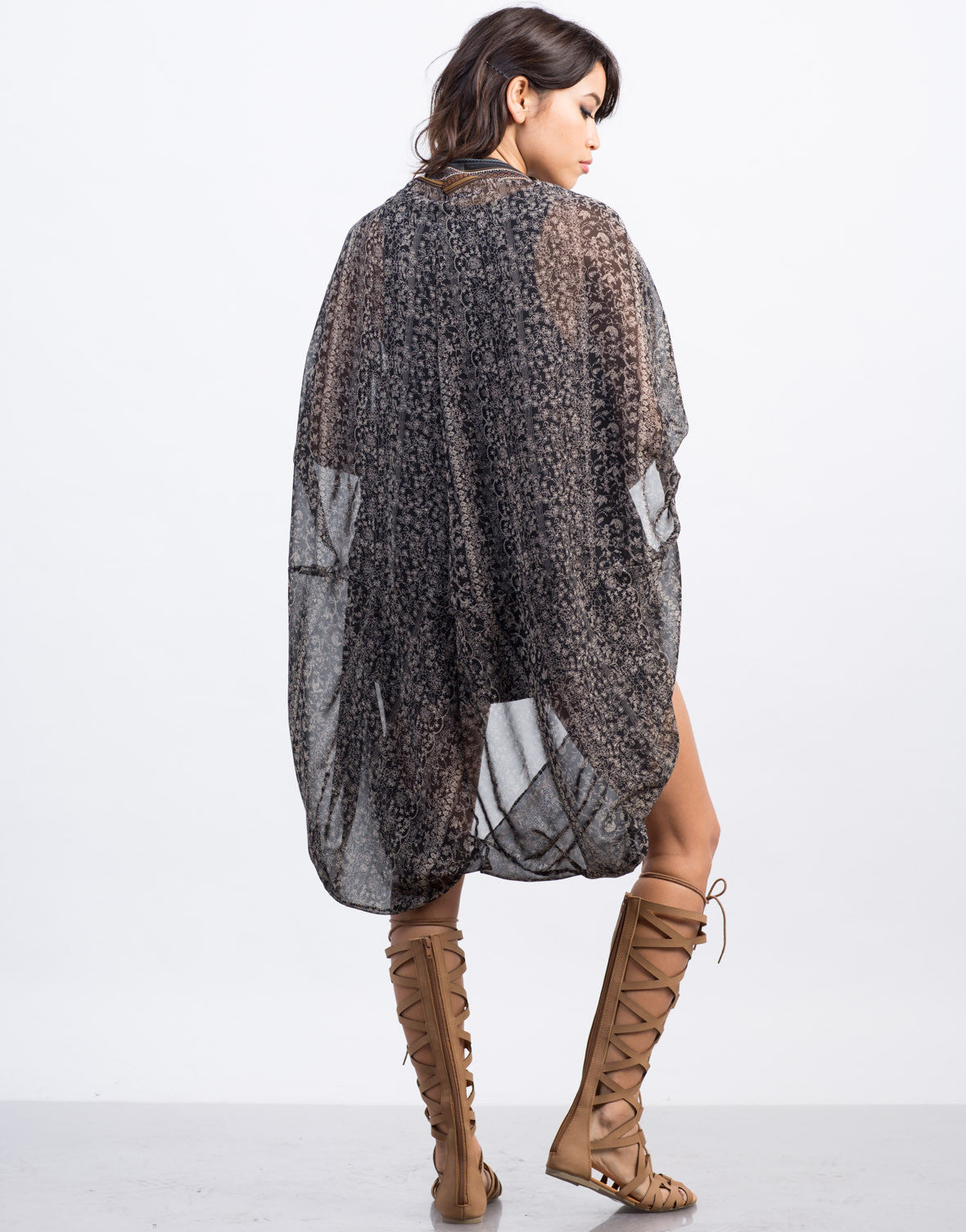 Back View of Woven Printed Cacoon Kimono