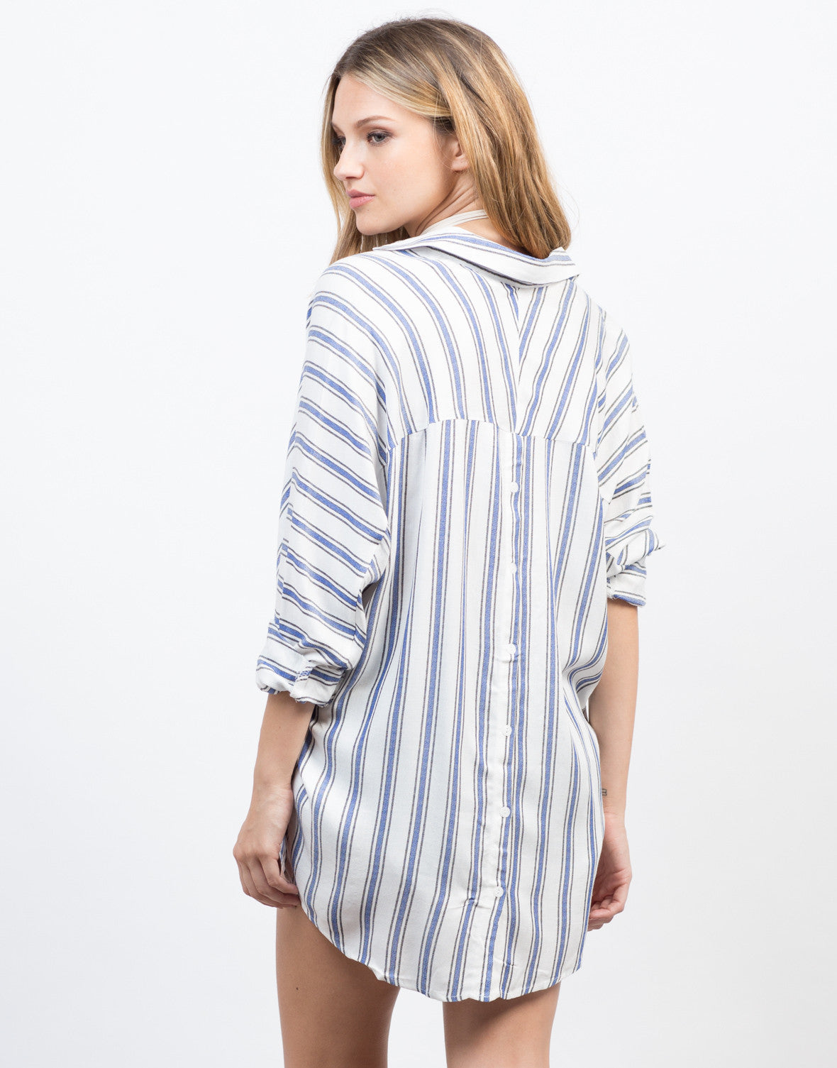Back View of Woven Striped Blouse
