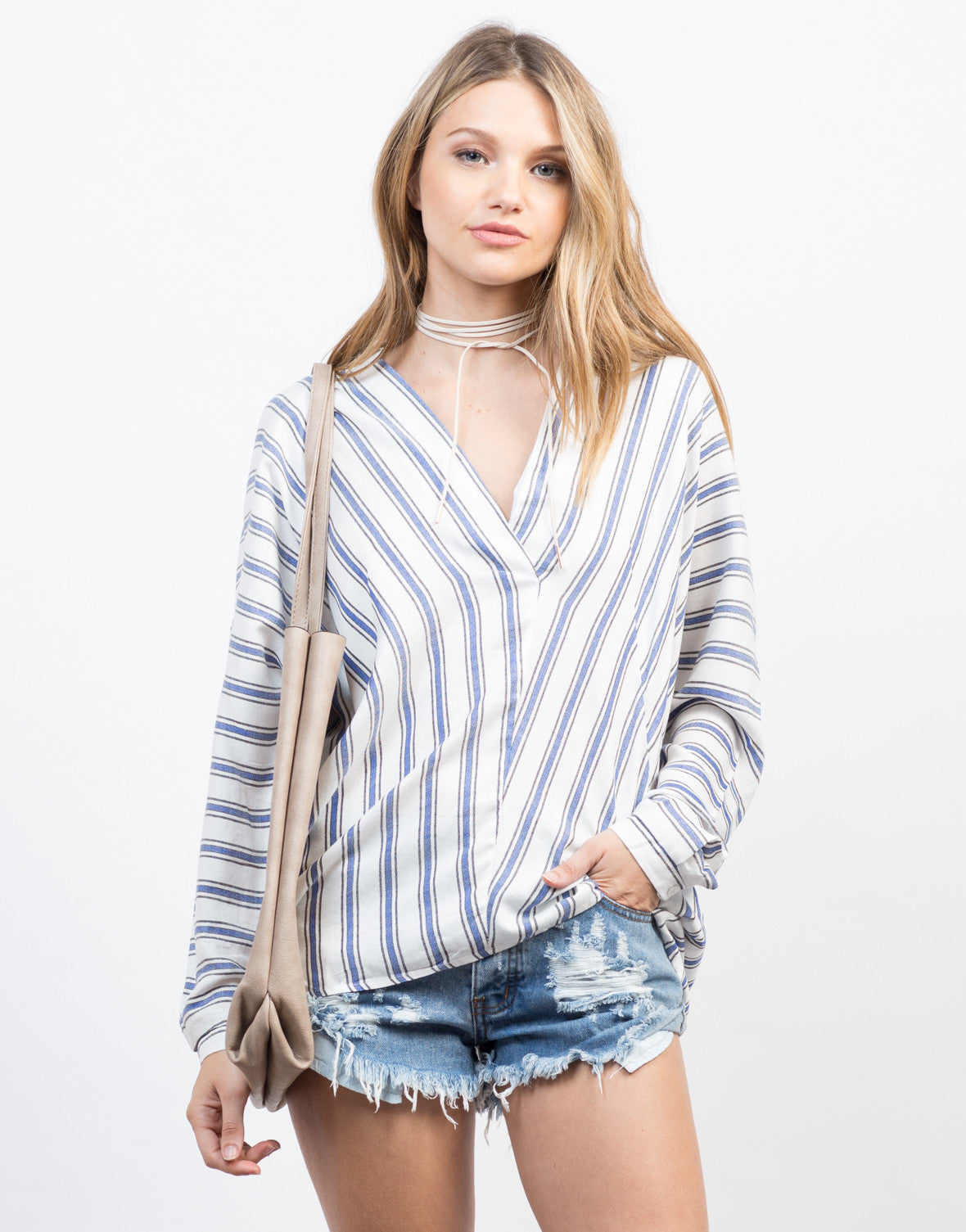 Front View of Woven Striped Blouse