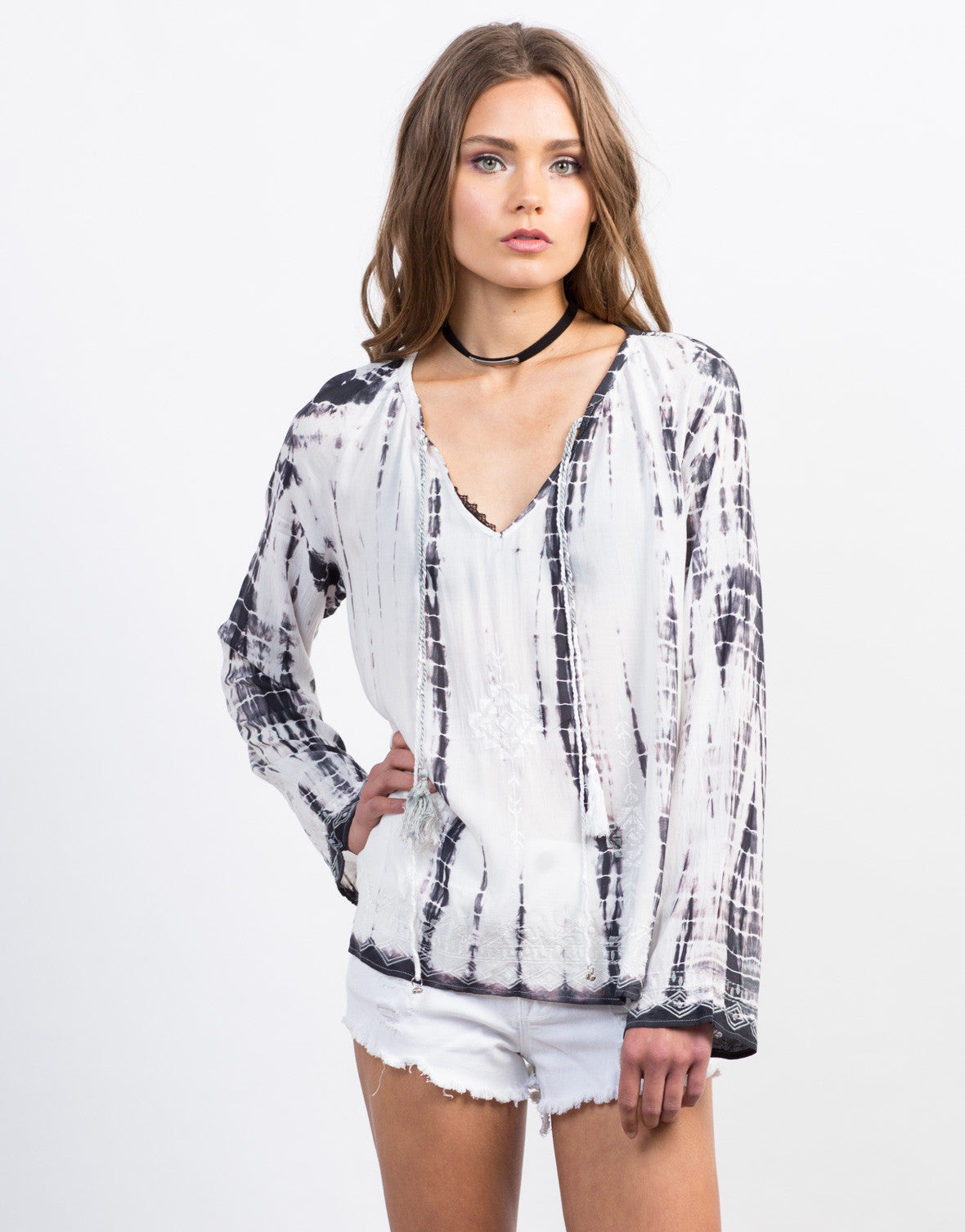 Front View of Woven Tie-Dye Blouse