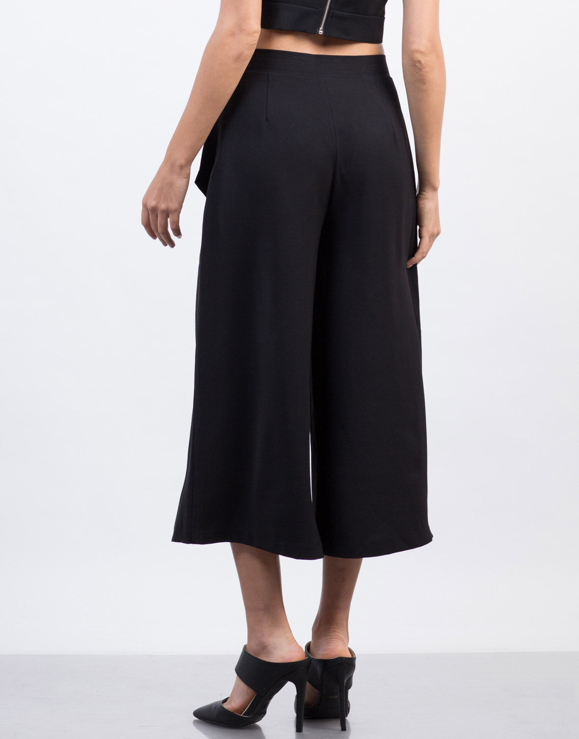 Back View of Woven Wide Leg Culottes