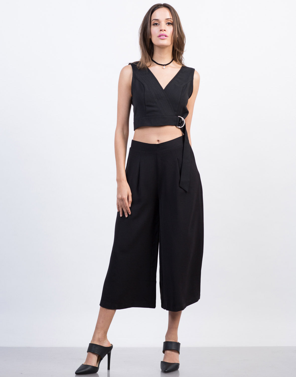 Front View of Woven Wide Leg Culottes