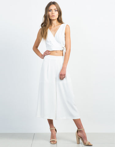 Front View of Woven Wide Leg Culottes - Everything White