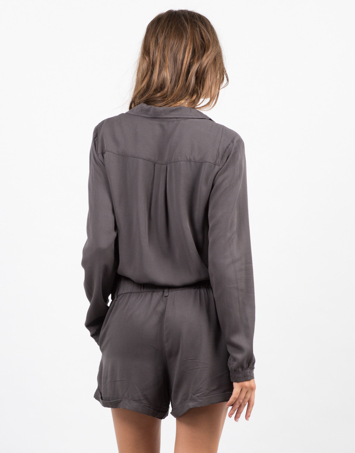 Back View of Woven Button Front Romper