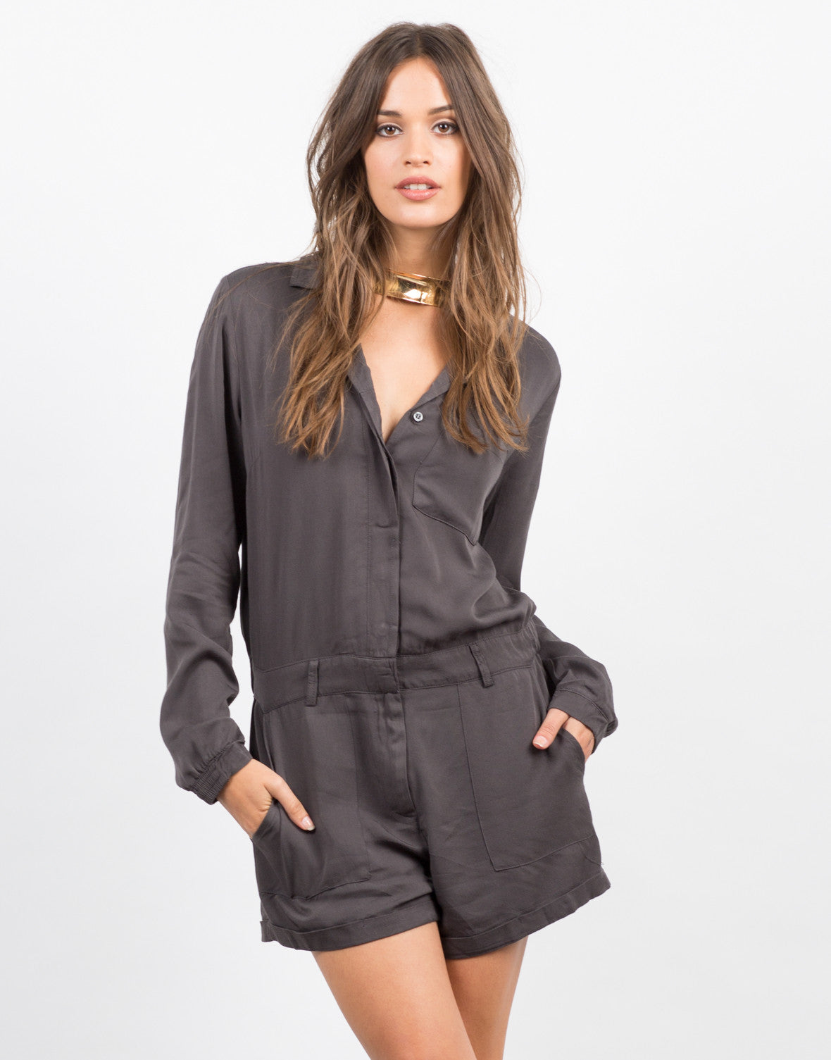 Front View of Woven Button Front Romper