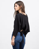 Back View of Woven Caped Crop Top