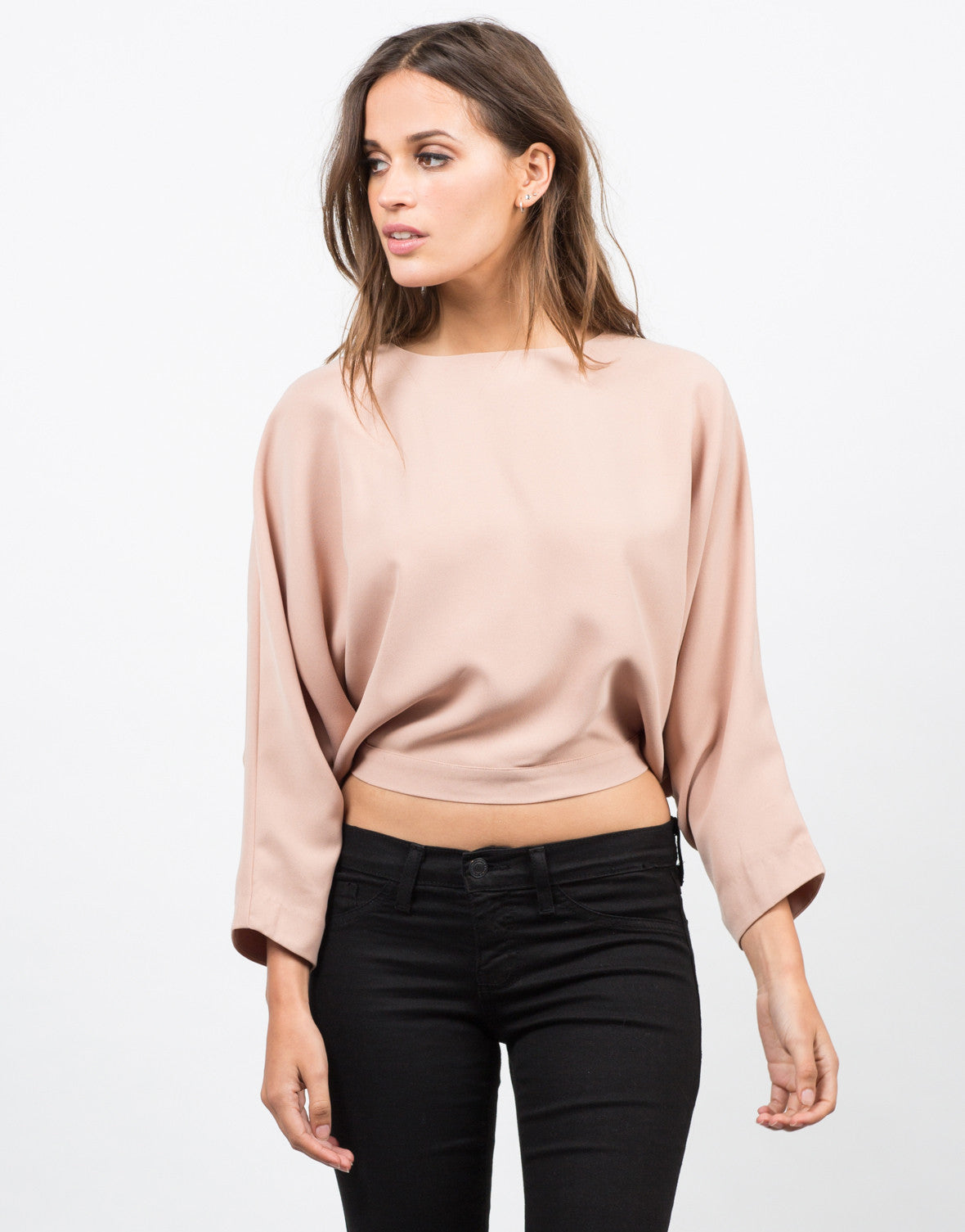 Front View of Woven Caped Crop Top