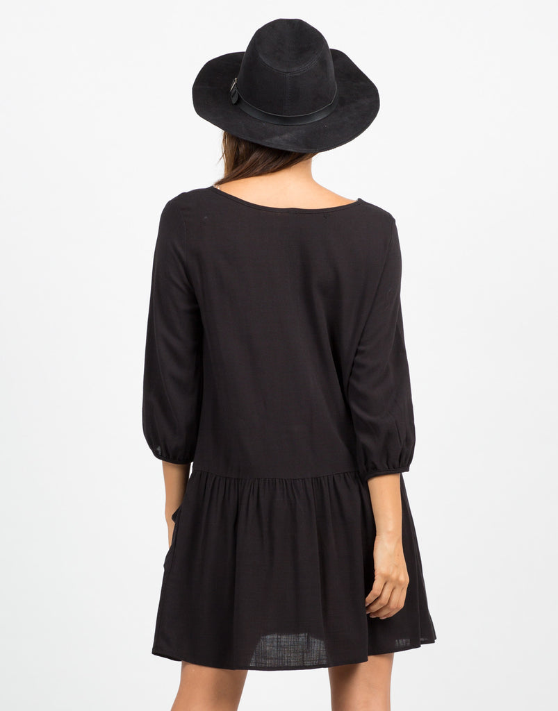 Back View of Woven Crossover Dress