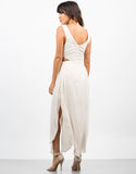 Back View of Woven Cut Out Maxi Dress