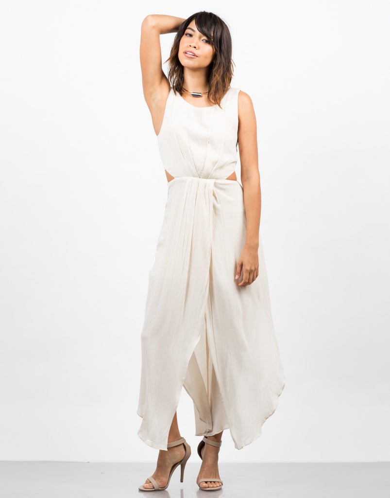 Front View of Woven Cut Out Maxi Dress