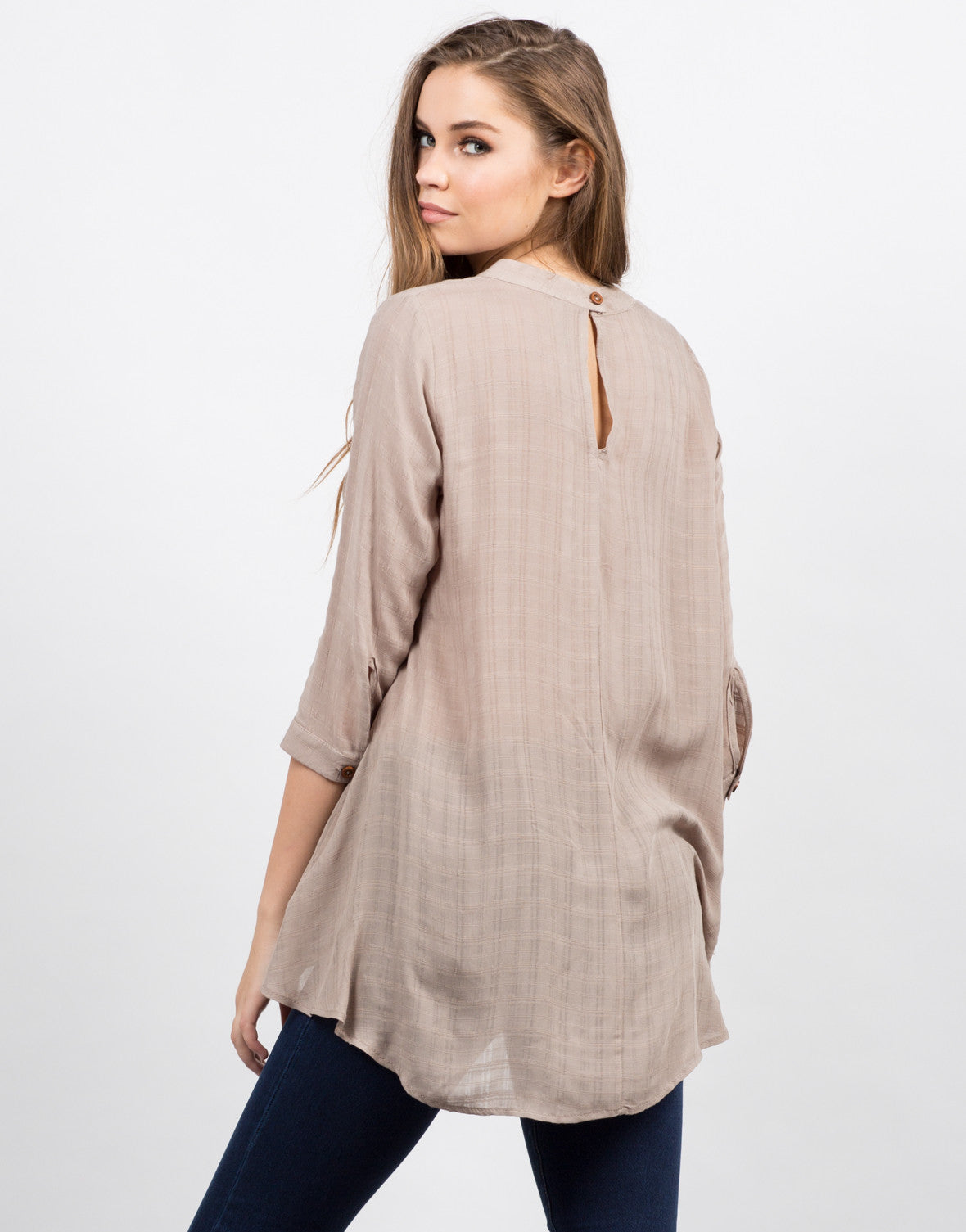 Back View of Woven Flowy Top