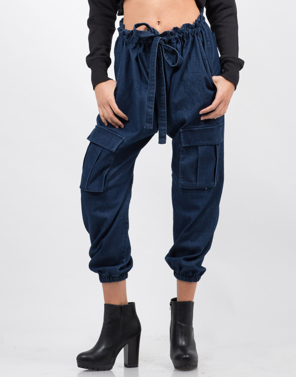 Front View of Woven Jogger Pants