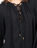 Detail of Woven Lace Up Blouse