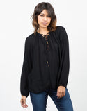 Front View of Woven Lace Up Blouse