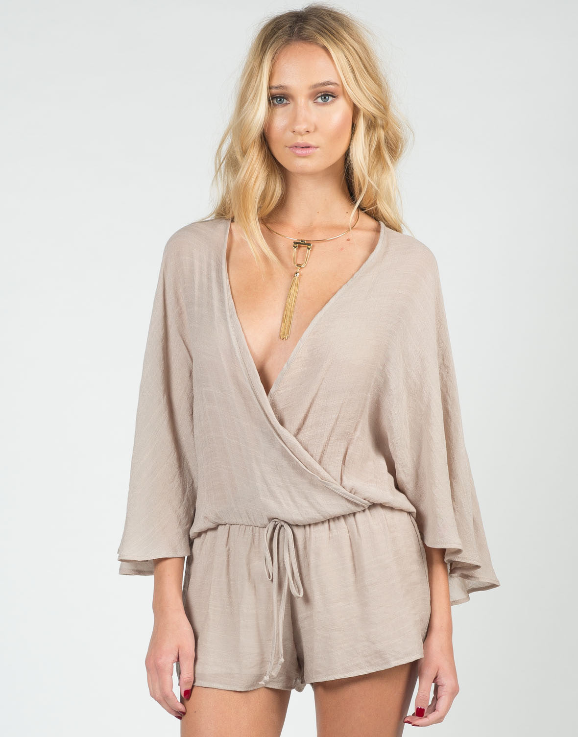 Front View of Woven Little Romper