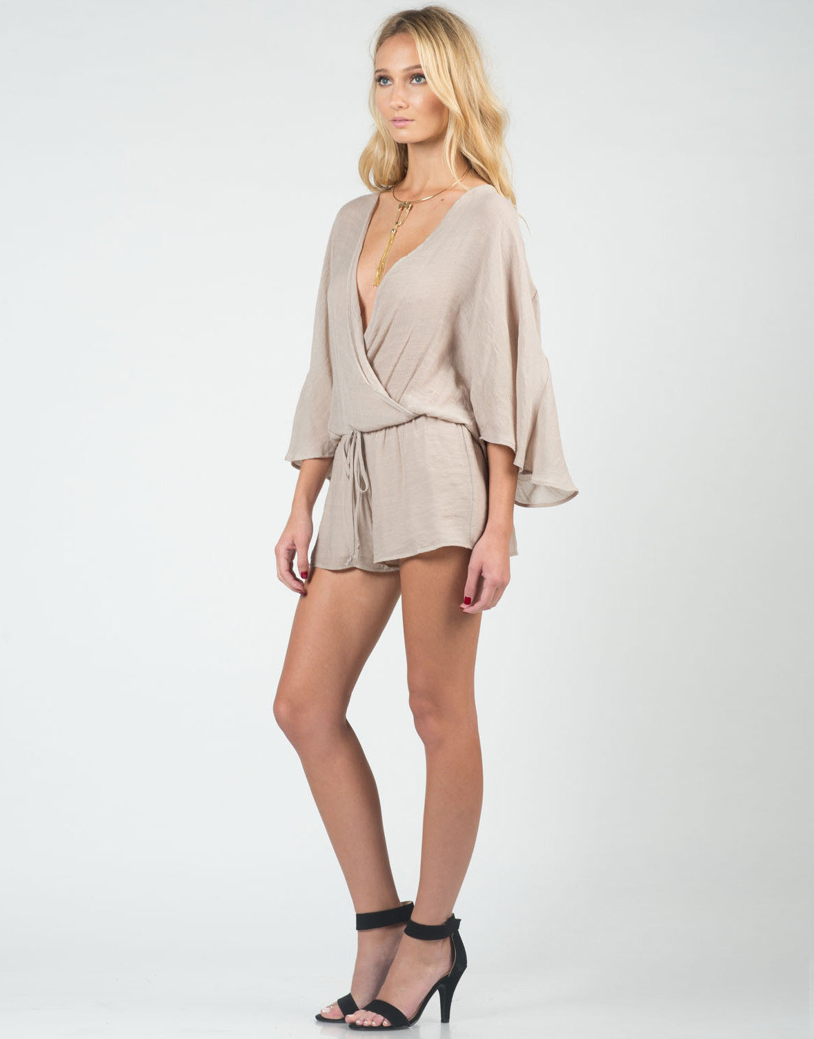 Side View of Woven Little Romper