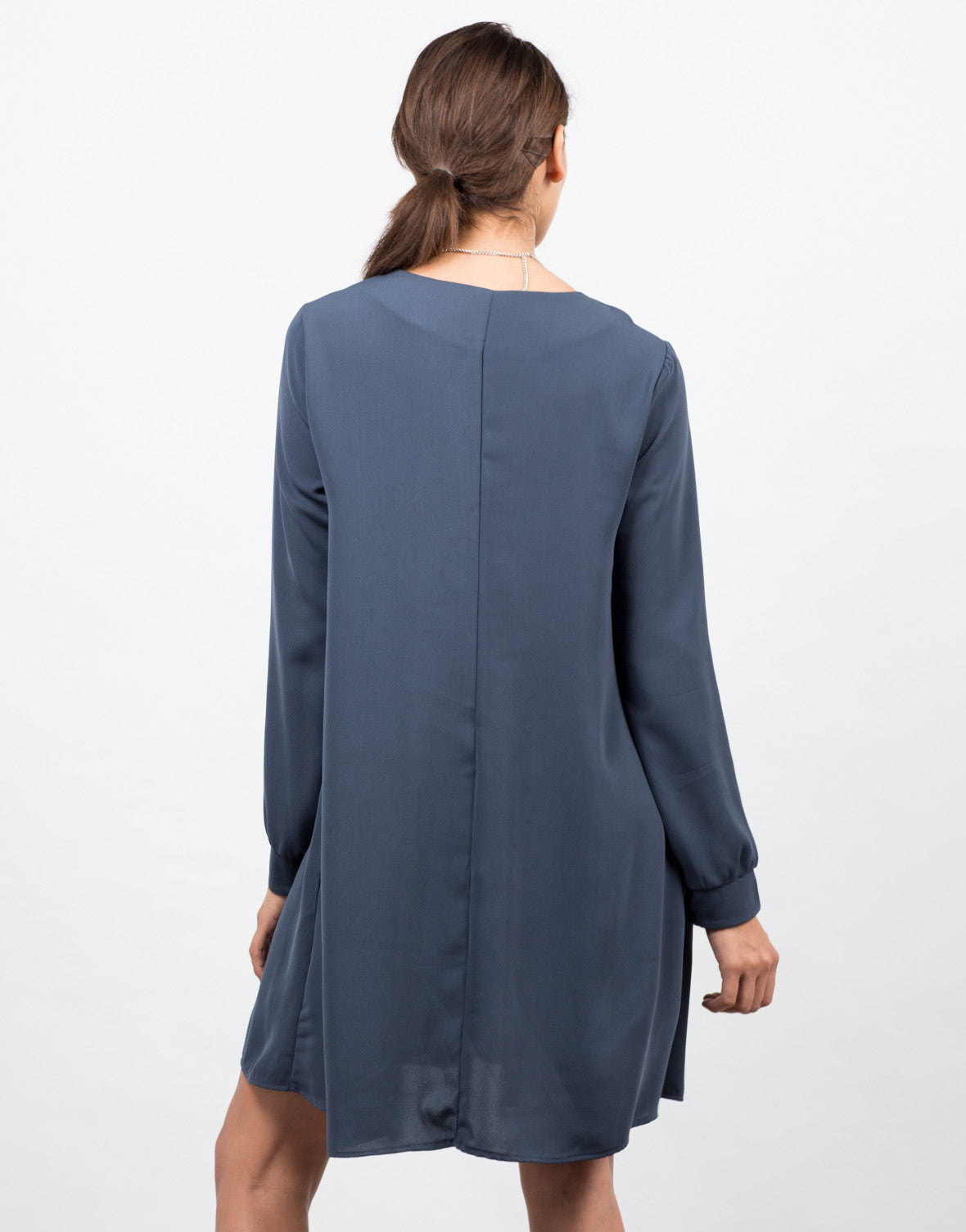 Back View of Woven Long Sleeve Shift Dress
