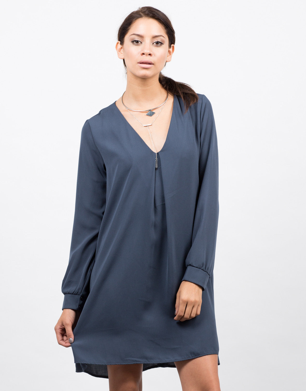 Front View of Woven Long Sleeve Shift Dress