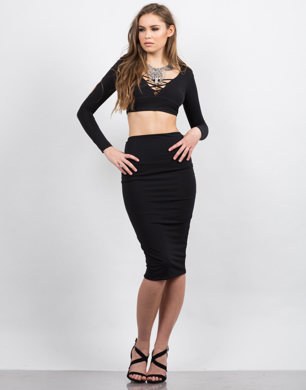 Front View of Slinky Midi Skirt