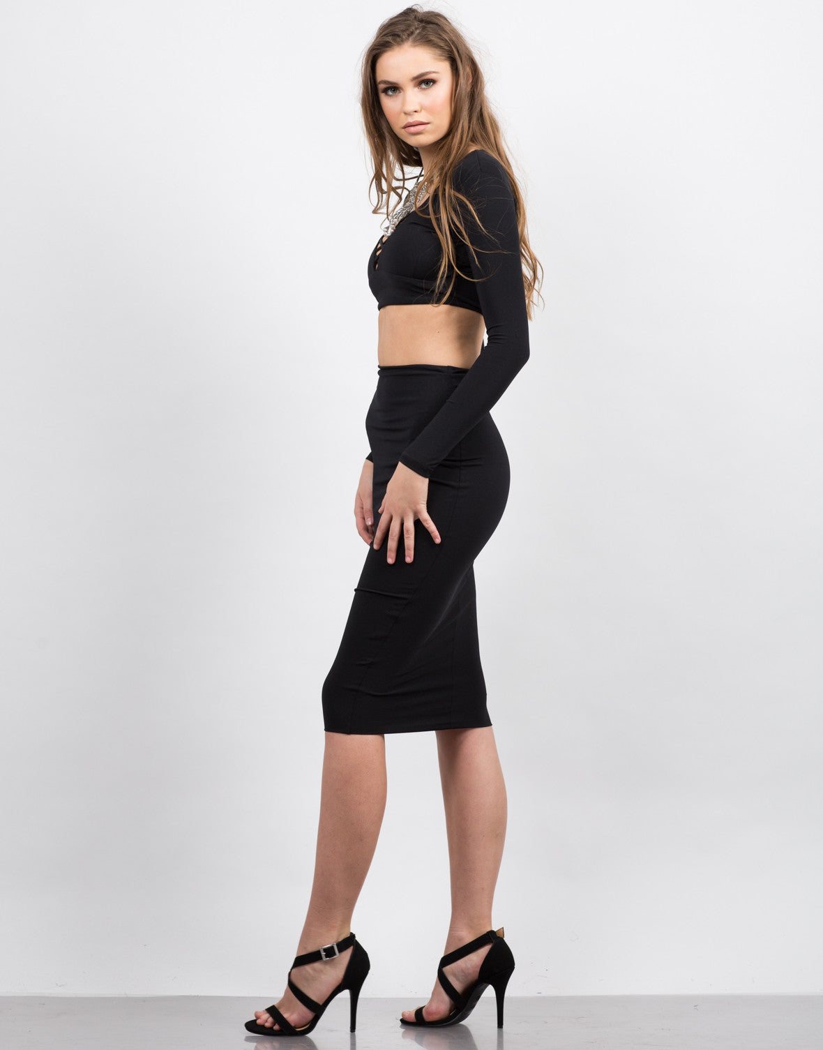 Side View of Slinky Midi Skirt