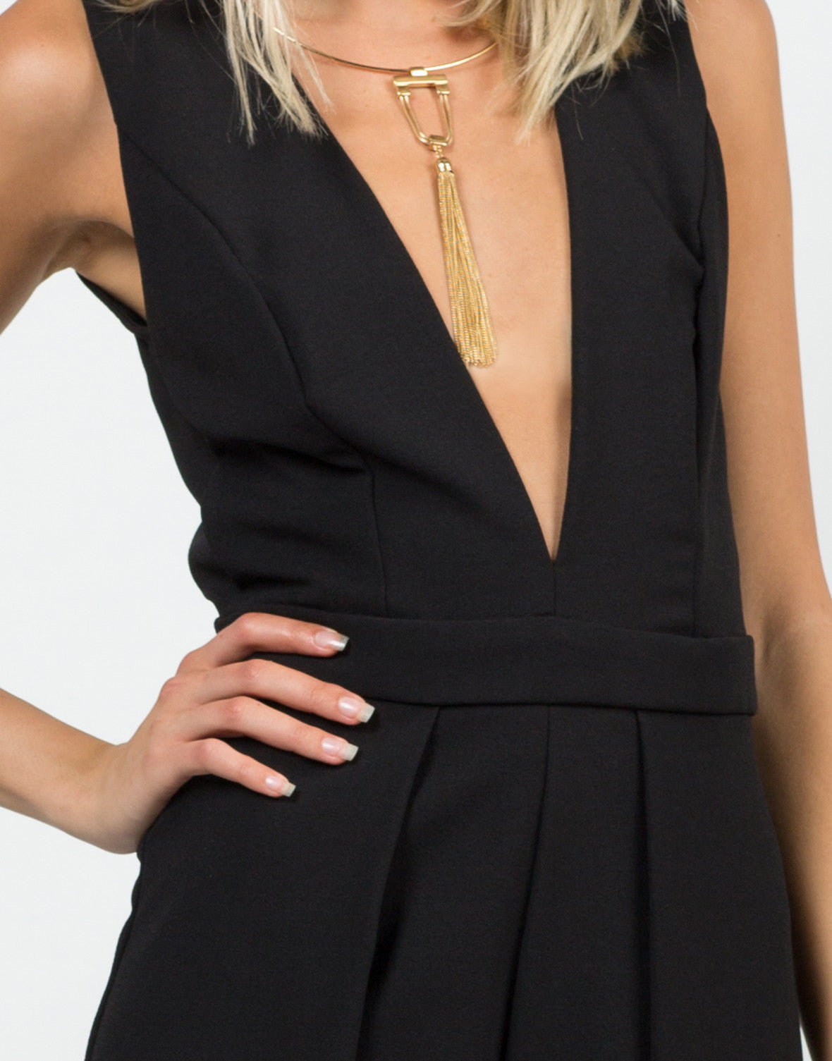 Detail of Woven Open Back Romper
