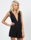 Front View of Woven Open Back Romper