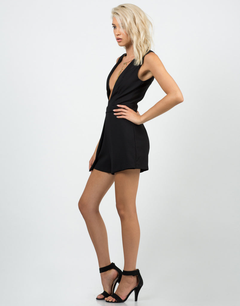 Side View of Woven Open Back Romper