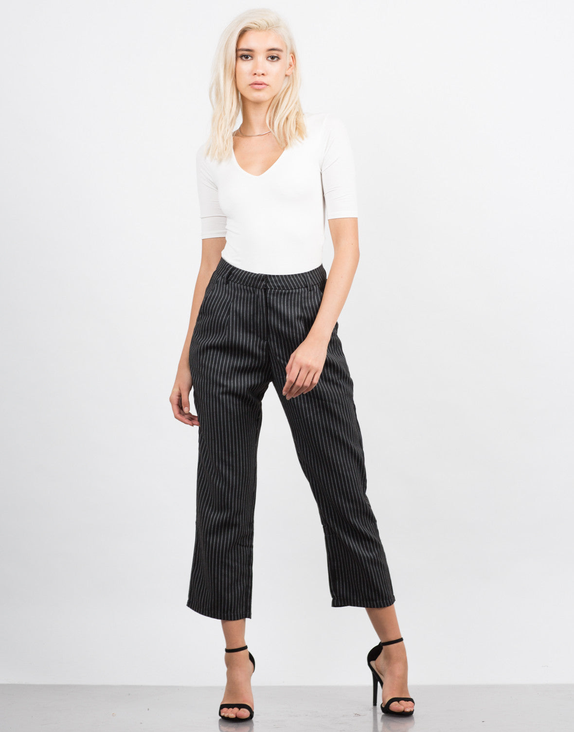 Front View of Woven Pin Stripe Pants