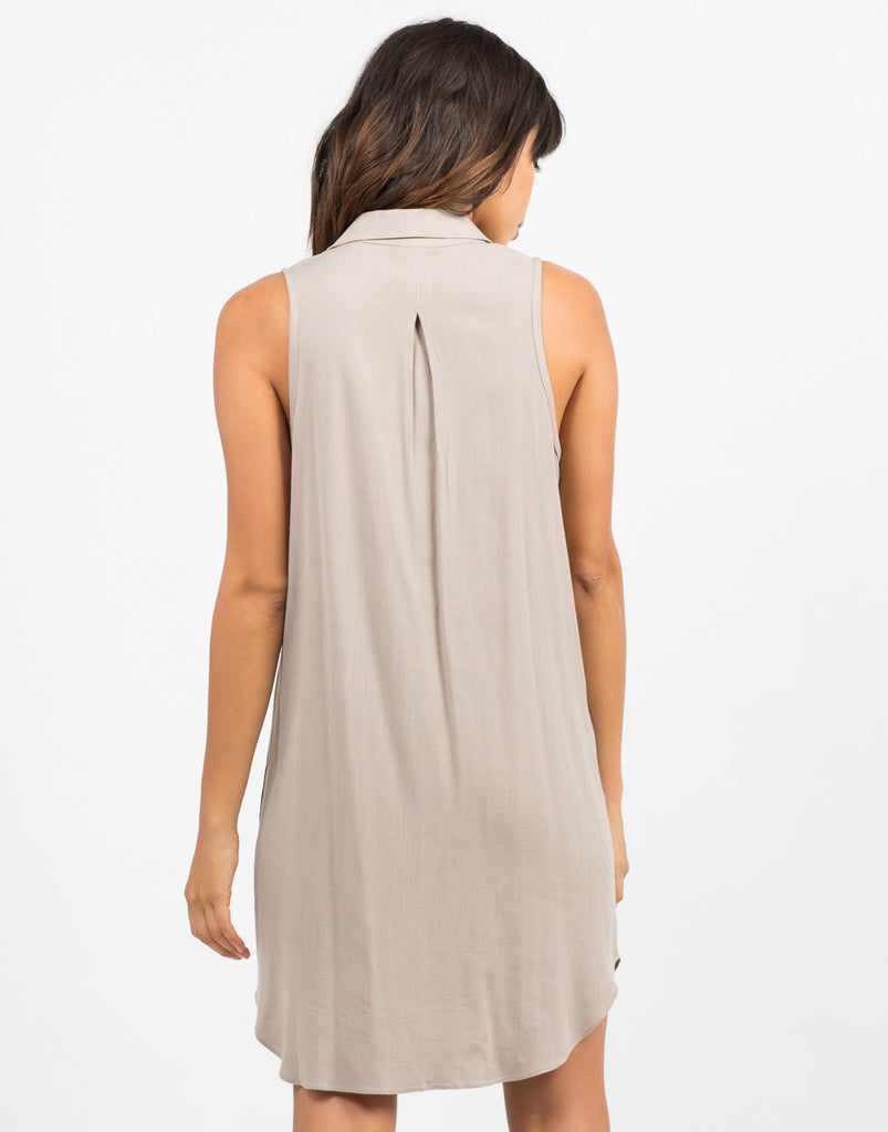 Back View of Woven Sleeveless Shift Dress