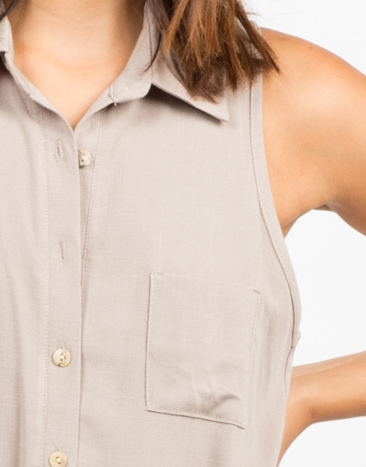 Detail of Woven Sleeveless Shift Dress