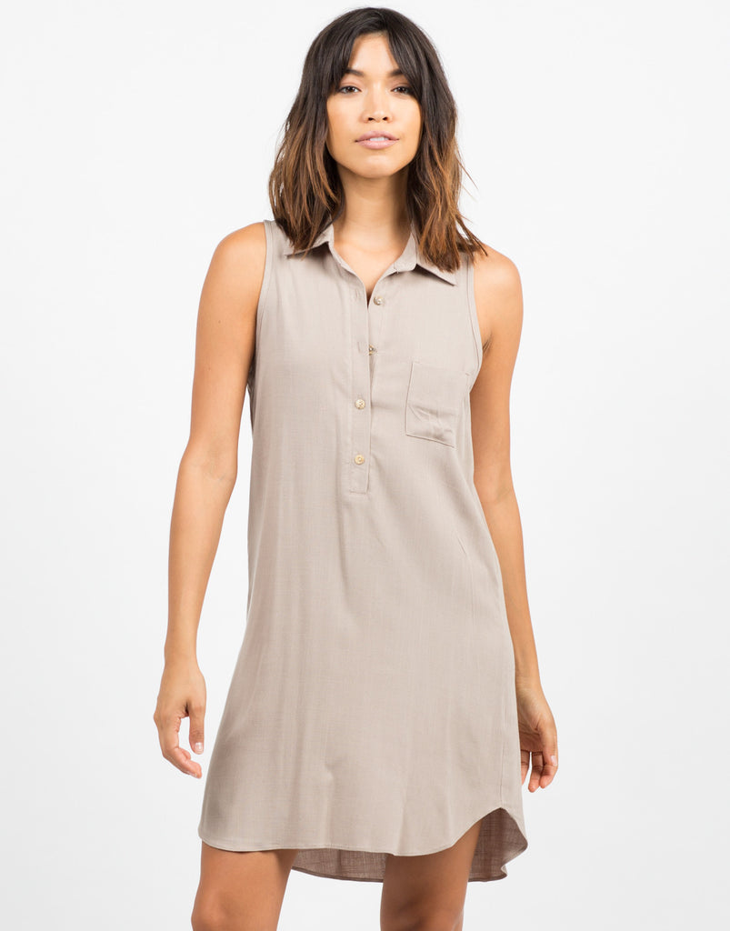 Front View of Woven Sleeveless Shift Dress