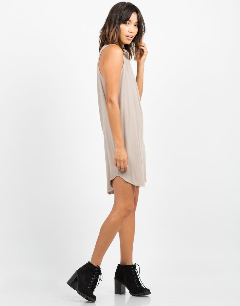 Side View of Woven Sleeveless Shift Dress