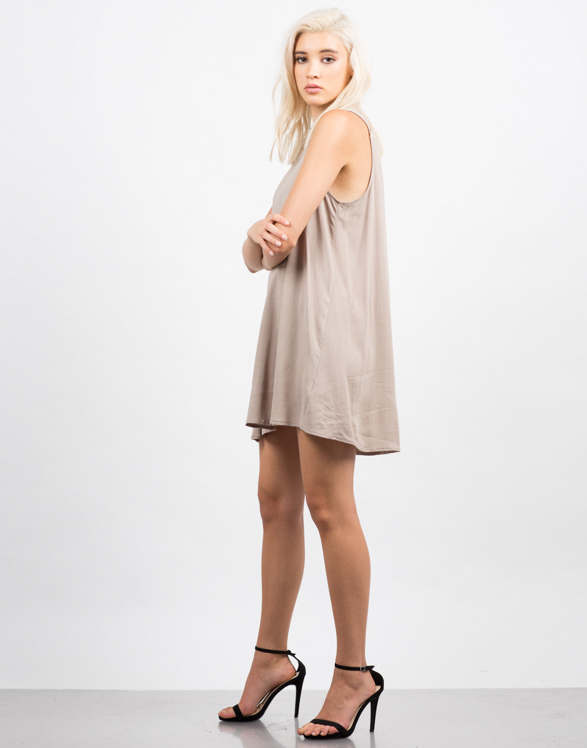 Side View of Woven Tank Dress