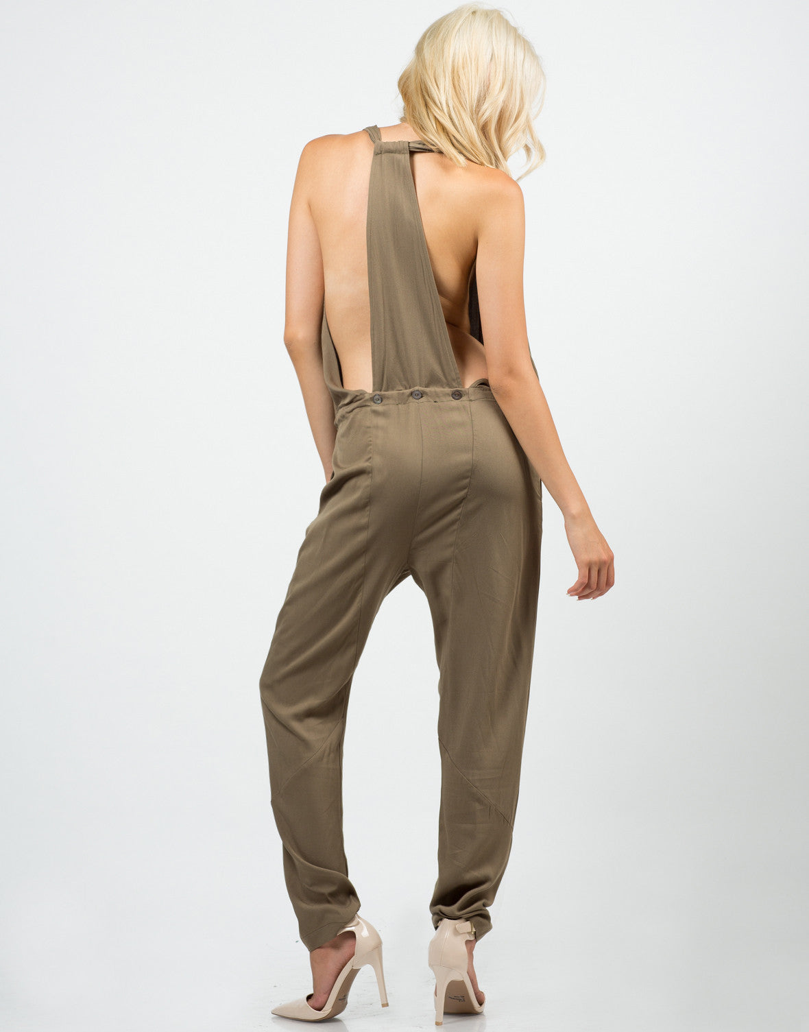 Back View of Woven T-Back Jumpsuit