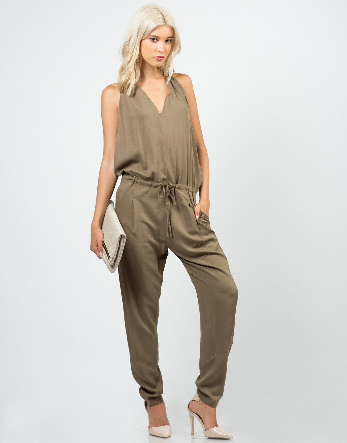 Front View of Woven T-Back Jumpsuit