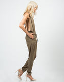 Side View of Woven T-Back Jumpsuit