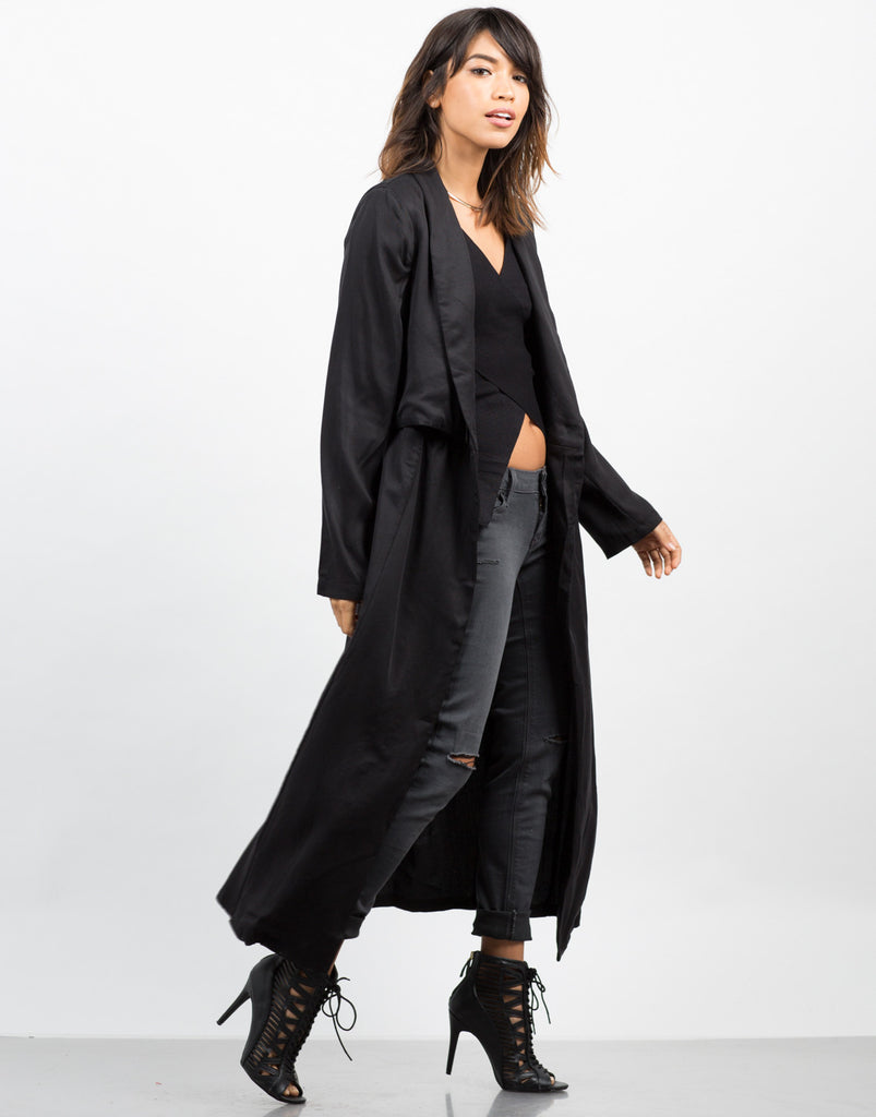 Side View of Woven Trench Coat