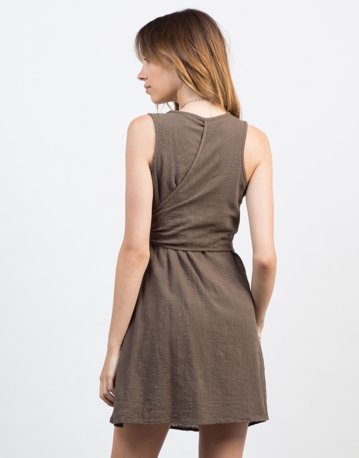Back View of Wrap It Up Crosshatch Dress