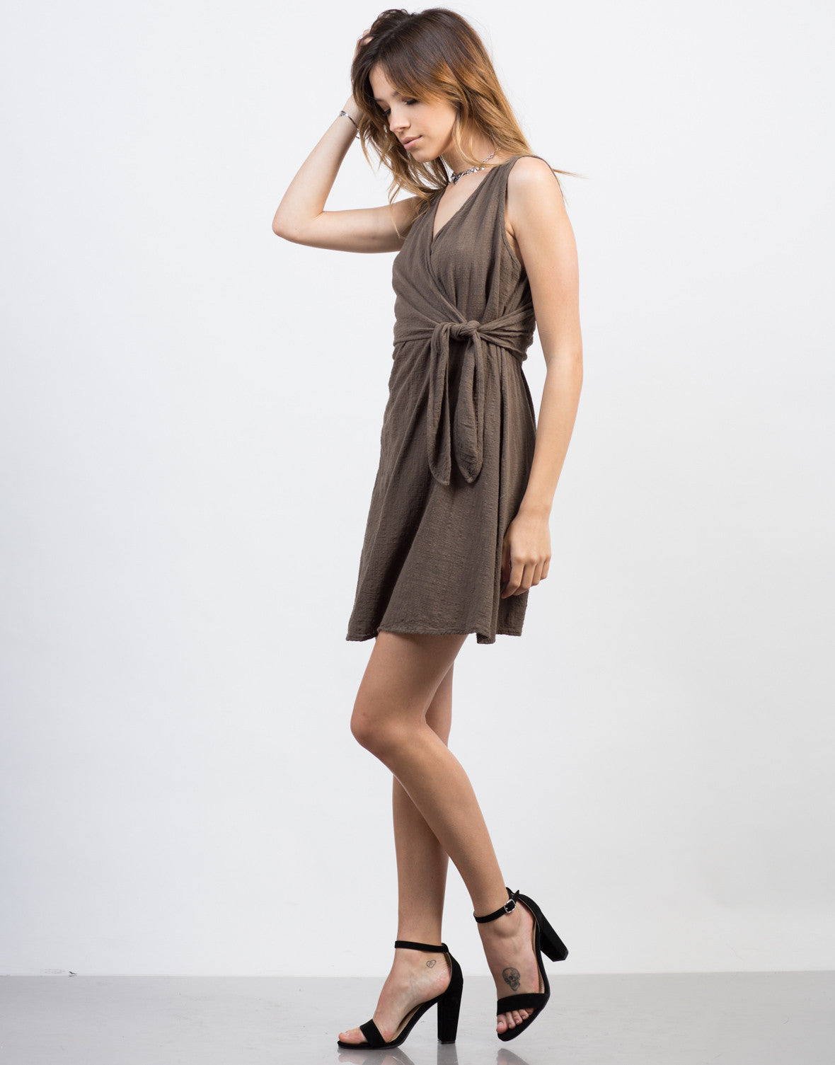 Side View of Wrap It Up Crosshatch Dress