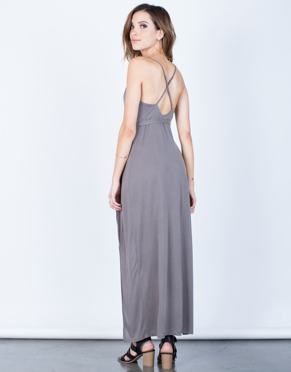 Back View of Wrap Maxi Dress