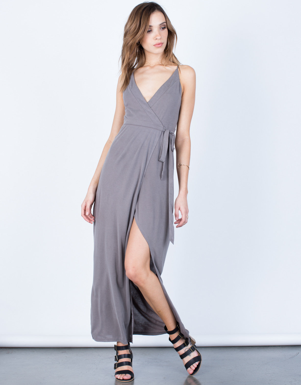 Front View of Wrap Maxi Dress